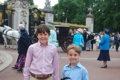My boys, Kemp (10) & Spencer (8), at Buckingham Palace