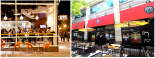 Left: sidewalk seating in front of Burger, Tap & Shake on the bustling Washington Circle in Foggy Bottom; Right: Mussel Bar & Grille's shaded patio at Bethesda Row